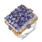 Tanzanite 14K YG and Platinum Over Sterling Silver Cluster Ring (Size 7.0) TGW 7.25 cts.