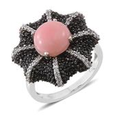 Peruvian Pink Opal, Thai Black Spinel, Cambodian Zircon Platinum Over Sterling Silver Ring (Size 8.0) TGW 5.39 cts.