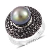 Tahitian Pearl, Thai Black Spinel Platinum Over Sterling Silver Ring (Size 9.0) TGW 1.50 cts.