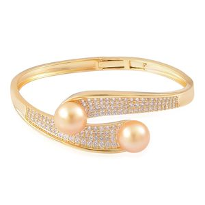 South Sea Golden Pearl (11.5-12 mm), White Zircon 14K YG Over Sterling Silver Bypass Bangle (7.25 in) TGW 4.92 cts.