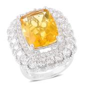 Canary Fluorite, White Zircon Sterling Silver Ring (Size 7.0) TGW 16.45 cts.