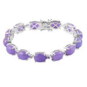 Burmese Purple Jade, Tanzanite Sterling Silver Bracelet (7.50 In) TGW 40.29 cts.
