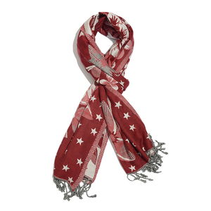 Red and Light Pink Jacquard Pattern 50% Viscose and 50% Acrylic Reversible Scarf (80x27 in)