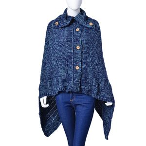 Navy 100% Acrylic Poncho with Buttons & Collar (63x51.19 in)