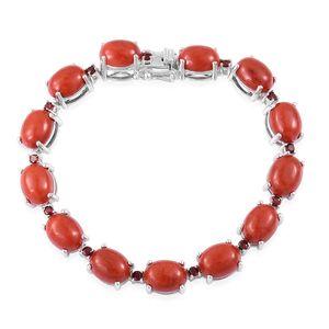 Burmese Red Jade, Mozambique Garnet Sterling Silver Bracelet (7.50 In) TGW 38.65 cts.