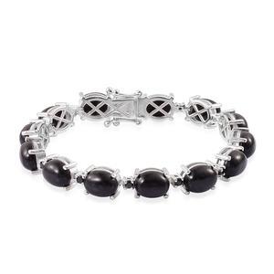 Burmese Black Jade, Thai Black Spinel Sterling Silver Bracelet (7.50 In) TGW 39.75 cts.