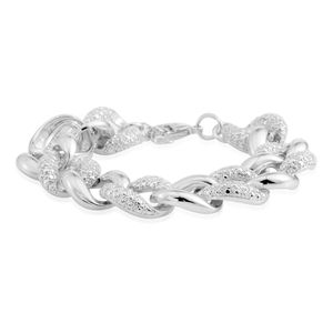 Diamond Accent Silvertone Curb Bracelet (7.00 In)