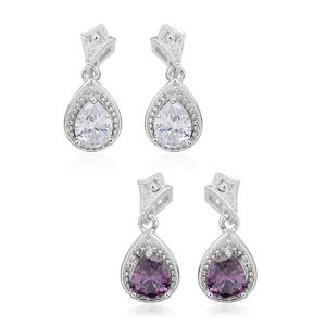 Set of 2 Simulated Purple Diamond Silvertone Drop Earrings TGW 3.24 cts.