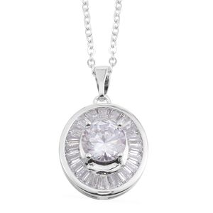 Simulated Diamond Silvertone Pendant With Chain (18 In) TGW 2.54 cts.