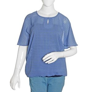 Classic Blue Lattice Pattern 100% Polyester Sheer Blouse (Size 20)