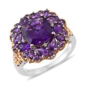 Lusaka Amethyst, Cambodian Zircon 14K YG and Platinum Over Sterling Silver Ring (Size 10.0) TGW 6.36 cts.