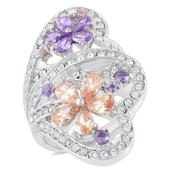 Simulated Purple and Champagne Diamond, Austrian Crystal Stainless Steel Ring (Size 6.0) TGW 25.00 cts.