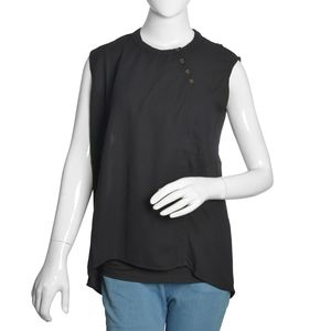 Black 100% Polyester Hi-low Sleevless Top with Button Opening (XXL)