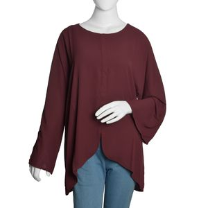 Burgundy 100% Polyester Roun Neck To with Front Seam closure with 3/4th Sleeves (XXL)