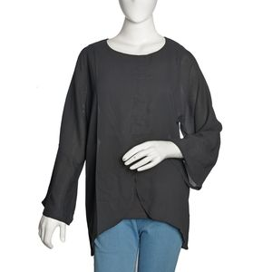 Black 100% Polyester Roun Neck To with Front Seam closure with 3/4th Sleeves (XXL)