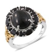Indian Black Star Diopside, Thai Black Spinel 14K YG and Platinum Over Sterling Silver Ring (Size 10.0) TGW 9.15 cts.