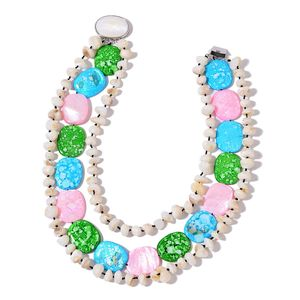 Multi Color Shell Silvertone Statement Necklace (18 in)