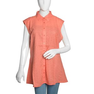 Coral 100% Cotton Sleeveless Floral Button Down Blouse (Size 20)