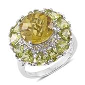 Ouro Verde Quartz, Hebei Peridot, Cambodian Zircon Platinum Over Sterling Silver Ring (Size 8.0) TGW 12.18 cts.