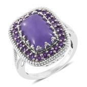 Burmese Purple Jade, Amethyst Platinum Over Sterling Silver Ring (Size 7.0) TGW 8.80 cts.