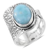 Artisan Crafted Sea Mist Larimar Sterling Silver Open Band Ring (Size 10.0) TGW 9.50 cts.