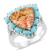 Mystic Twilight Topaz, Arizona Sleeping Beauty Turquoise, Cambodian Zircon Platinum Over Sterling Silver Ring (Size 7.0) TGW 13.68 cts.