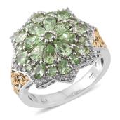 Merelani Mint Garnet, Cambodian Zircon 14K YG and Platinum Over Sterling Silver Floral Cluster Ring (Size 9.0) TGW 3.96 cts.