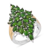 Russian Diopside 14K YG and Platinum Over Sterling Silver Elongated Ring (Size 6.0) TGW 7.35 cts.