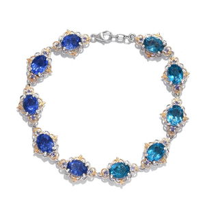 Color Change Fluorite, Tanzanite 14K YG and Platinum Over Sterling Silver Bracelet (6.50 In) TGW 18.55 cts.