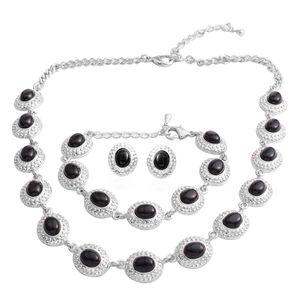 Black Onyx Silvertone Stud Earrings, Bracelet (7 in) and Necklace (18.50 In) TGW 55.00 cts.