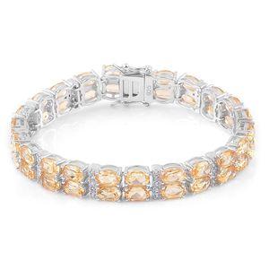 Brazilian Citrine, White Zircon Sterling Silver Bracelet (7.50 In) TGW 23.00 cts.