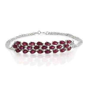 Niassa Ruby Platinum Over Sterling Silver Bracelet (7.50 In) TGW 7.16 cts.