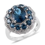 London Blue Topaz, Cambodian Zircon Platinum Over Sterling Silver Ring (Size 10.0) TGW 7.90 cts.