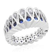 Simulated White and Blue Diamond Silvertone Ring (Size 10.0) TGW 1.50 cts.