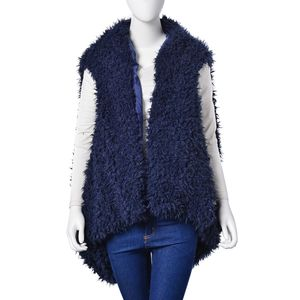 Navy Blue 100% Polyester Faux Fur Reversible Draped Vest (One Size)