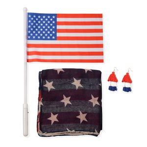 Fire Cracker Deal American Flag Pattern 100% Polyester Vest with Matching Faux Leather Wallet (7.5x.5x4 In)