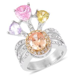 Simulated Multi Color Gems, White Austrian Crystal ION Plated YG and Stainless Steel Ring (Size 8.0) TGW 5.74 cts.