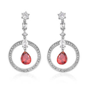Simulated Red and White Diamond, White Austrian Crystal Stainless Steel Earrings TGW 7.26 cts.