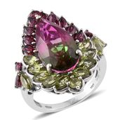 Web Exclusive Doorbuster Watermelon Quartz, Orissa Rhodolite Garnet, Hebei Peridot 14K YG and Platinum Over Sterling Silver Ring (Size 9.0) TGW 13.71 cts.
