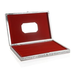 Handcrafted Aluminum Engraved Colosseum Jewelry Box with Velvet Interior (Approx 150 Rings) (14.5x2x9.5 in)