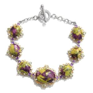 Tasmanian Stichtite, Amethyst, Hebei Peridot 14K YG and Platinum Over Sterling Silver Bracelet (7.50 In) TGW 32.61 cts.