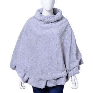 Blue Heather 100% Polyester Turtleneck Faux Fur Rounded Poncho (One Size)