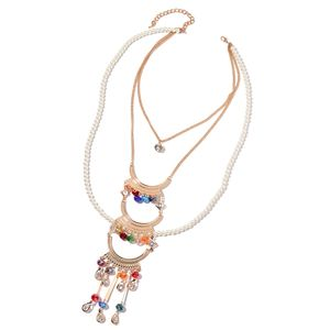 Chroma, Multi Color Glass, Austrian Crystal Rosetone Tribal Necklace (22 in)