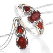Crimson Fire Opal, Cherry Fire Opal 14K YG and Platinum Over Sterling Silver Ring (Size 8) and Pendant With Chain (20 in) TGW 1.42 cts.