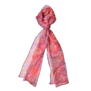 Strawberry Ice with Blue Art Pattern 100% Natural Mulberry Silk Scarf (75x20 in)
