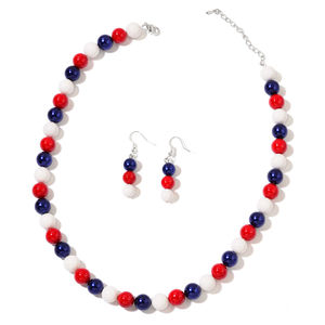 Multi Color Shell Beads Stainless Steel Earrings and Necklace (18 in)