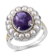 Lusaka Amethyst, Freshwater Pearl 14K YG and Platinum Over Sterling Silver Ring (Size 10.0) TGW 4.25 cts.