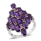 Lusaka Amethyst, Pink Tourmaline Platinum Over Sterling Silver Elongated Ring (Size 7.0) TGW 7.33 cts.