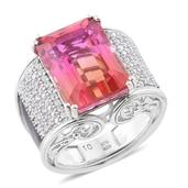 Arizona Sunset Quartz, Cambodian Zircon, Black Enamel Platinum Over Sterling Silver Ring (Size 6.0) TGW 19.75 cts.