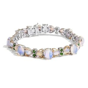Ethiopian Welo Opal, Russian Diopside 14K YG and Platinum Over Sterling Silver Bracelet (7.50 In) TGW 14.45 cts.